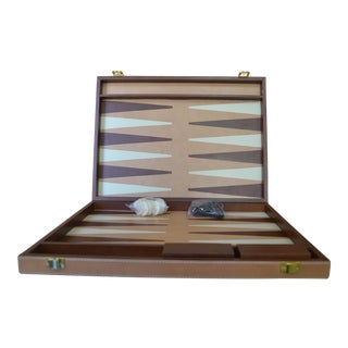 Pigeon & Poodle Leather and Hide Backgammon Set For Sale
