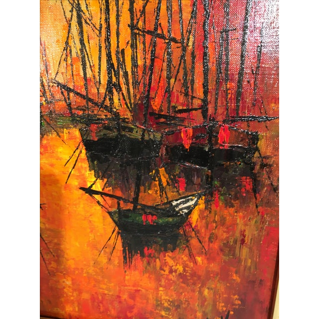 Vintage 1960s Abstract Sailboats Painting - Image 9 of 9