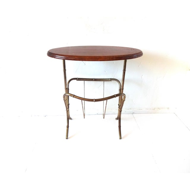 Mid 20th Century Vintage Mid-Century Modern Brass Faux Bamboo Side Table & Magazine Rack For Sale - Image 5 of 10