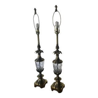 Vintage Stiffel Brass and Crystal Lamps - a Pair For Sale