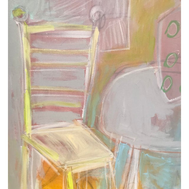 Abstracted interior-scape/ still life. 48 x 36 x 1.5 on thick gallery wrapped canvas. Edges painted white, back wired,...