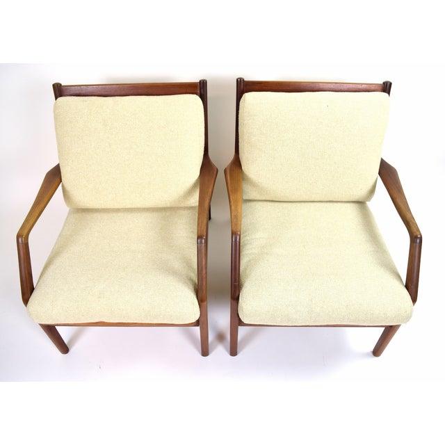 Wood Vintage Ib Kofod Larsen Style Danish Modern Lounge Armchairs - a Pair For Sale - Image 7 of 9