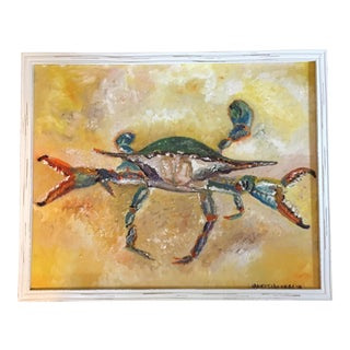 """20""""x16"""" Blue Crab Original Oil Painting Framed White For Sale"""