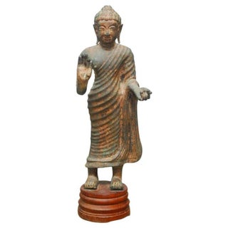Cast Iron Standing Buddha Statue For Sale