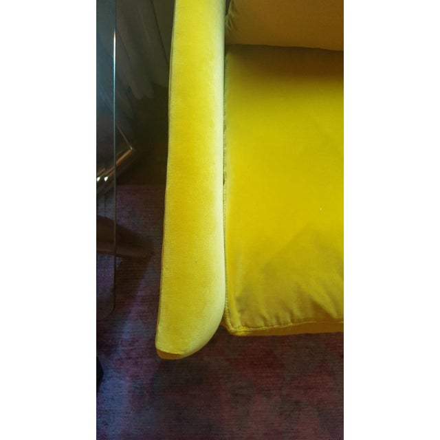 Contemporary Closed Back Yellow Velvet Club Chair For Sale - Image 3 of 4