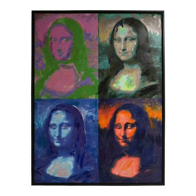 1982 Homage to Warhol Giclee Painting of the Mona Lisa by M. Eisner For Sale