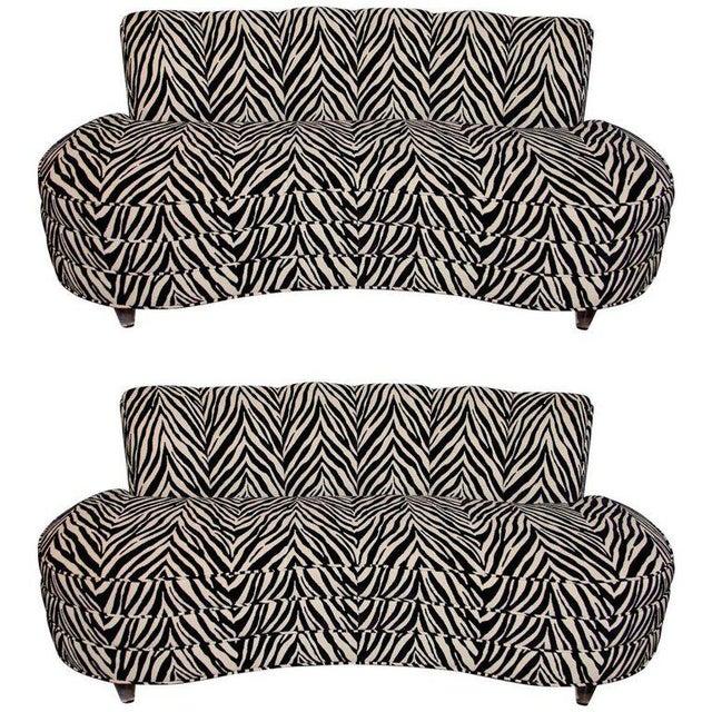 Lucite Custom Midcentury Kagan Style Zebra Pattern Sofa For Sale - Image 7 of 7