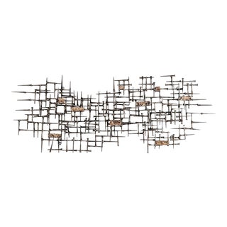 Jere Bowie Abstract Nail and Bronze Welded Wall Sculpture For Sale