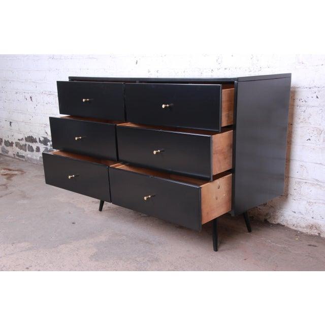 Black Paul McCobb Planner Group Ebonized Six-Drawer Dresser, Newly Restored For Sale - Image 8 of 11