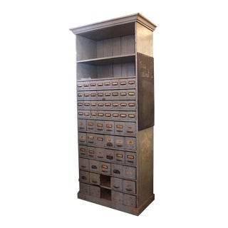20th Century Industrial Apothecary Cabinet With 63 Drawers & 2 Shelves For Sale