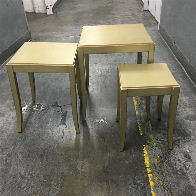 New Loggia Showroom Wooden Nesting Tables With Metallic Finish - 3 - Image 6 of 7