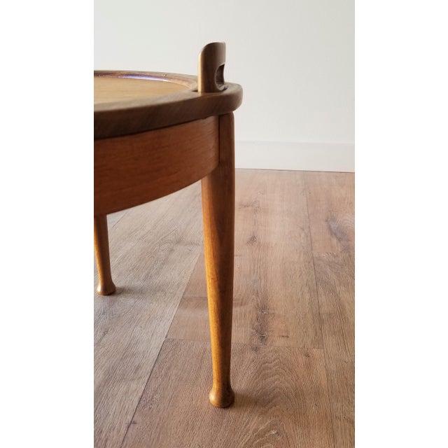 Wood B.J Hansen Mid-Century Modern Teak Flip Top Table/Stool For Sale - Image 7 of 10