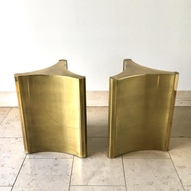 A Pair of Mastercraft Designed Brass Pedestal Table Bases 1970s These bases have a rich patina as time has aged the brass...