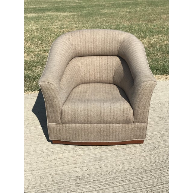 Fabric Mid-Century Modern Swivel Club Chairs Wood Plinth Base - a Pair For Sale - Image 7 of 13