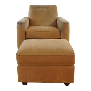 Crate and Barrel Club Chair and Ottoman For Sale