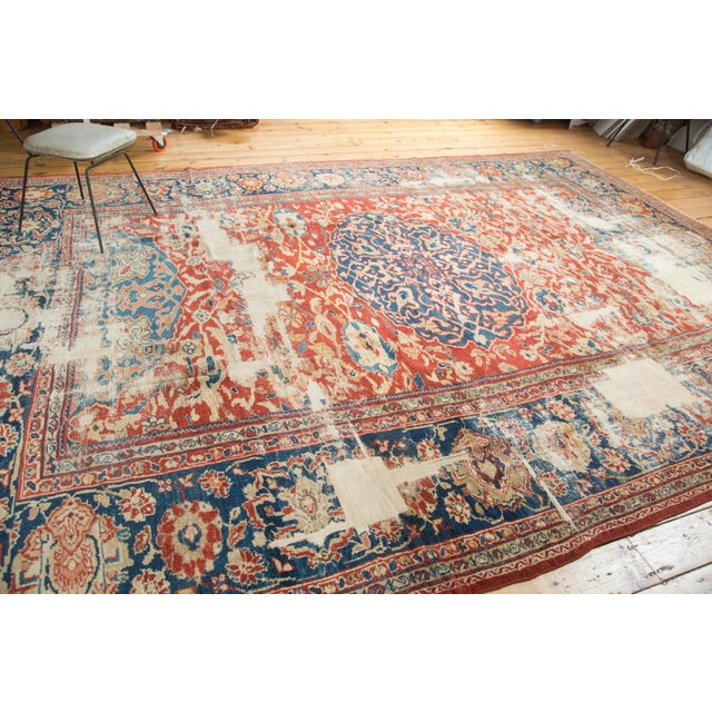 "Antique Distressed Ziegler Sultanabad Carpet - 9'9"" X 13'3"" For Sale In New York - Image 6 of 10"