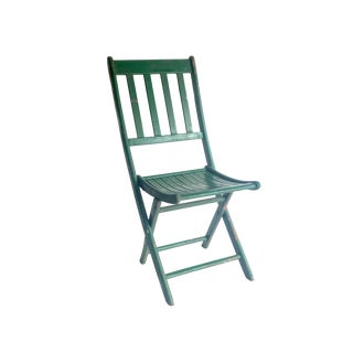 1950s Vintage Green Wood Slat Seat Folding Chair For Sale