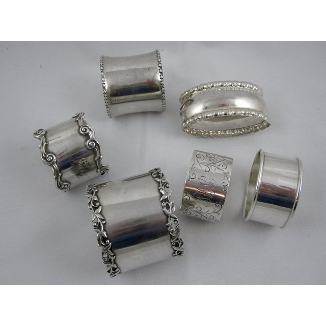 Antique Sterling Silver Napkin Rings - S/6 - Image 6 of 11
