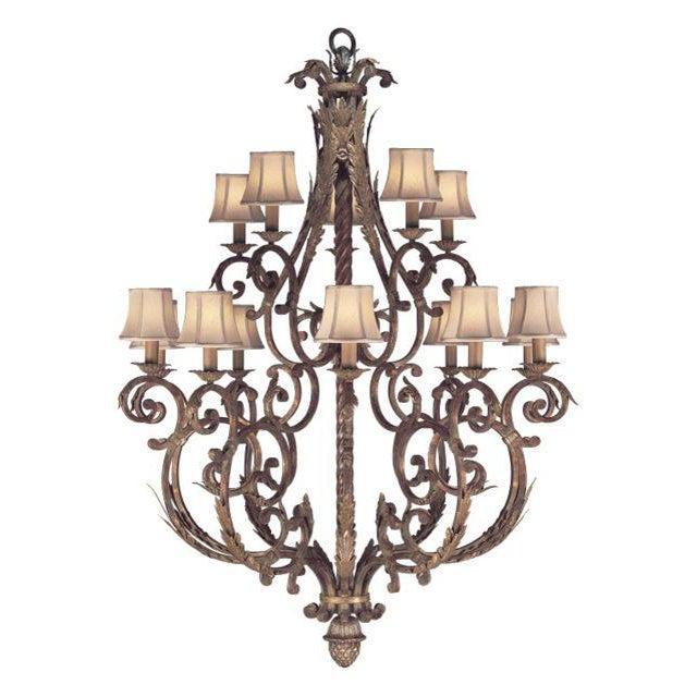 Art Nouveau Stile Bellagio 15-Light Tortoise Leather Crackle Chandelier For Sale - Image 3 of 3