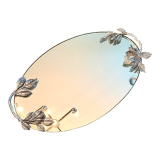 Art Nouveau Silver Mirrored Vanity Tray For Sale