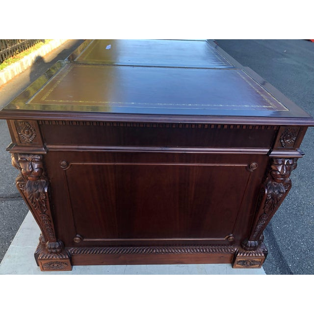 Mahogany Chippendale Style Double Pedestal Partners Desk For Sale - Image 4 of 12
