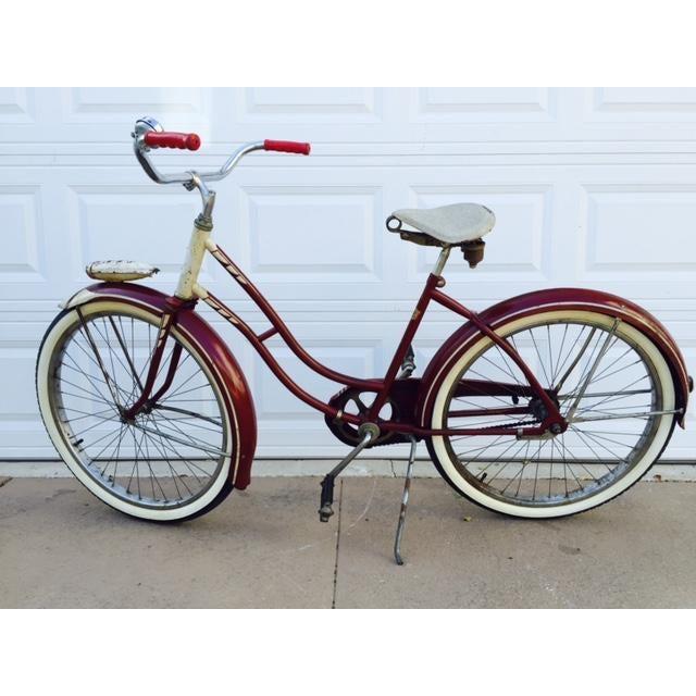 Burgundy, White 1950's Columbia Built Cruiser Bike - Image 2 of 10