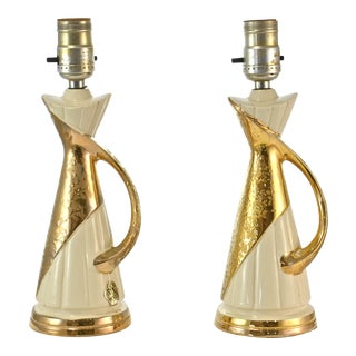 24k Gold Encrusted Lamps - a Pair
