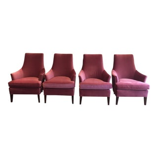 Mitchell Gold + Bob Williams Pink Mohair Upholstered Dana Chairs - Set of 4 For Sale