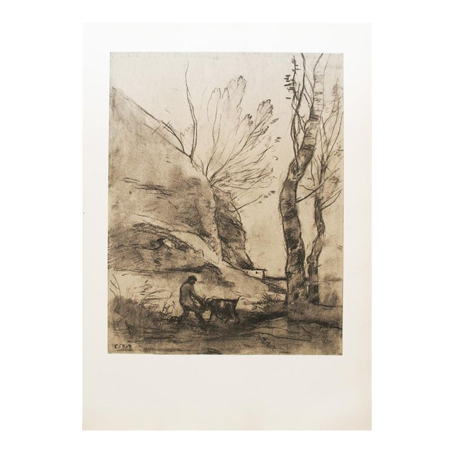 Vintage Cottage Lithograph After Chalk Drawing by Corot For Sale