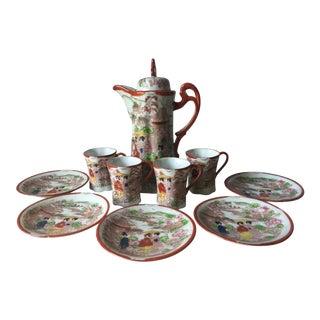 1970's Japanese Geisha Porcelain Tea Set - 10 Pc. Set For Sale