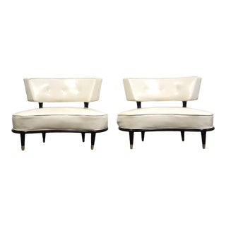 Italian Style White Oversized Lounge Chairs- a Pair For Sale