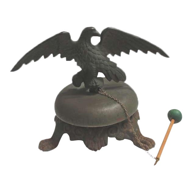 19th Century Large Bell on Iron Base with Bronze Eagle on Top For Sale