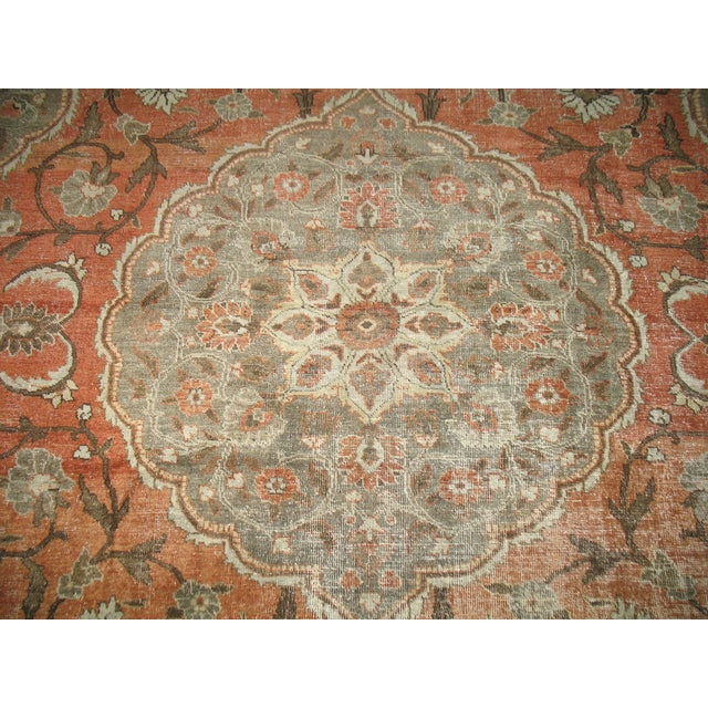 Shabby Chic Persian Tabriz Rug - 9′6″ × 12′8″ For Sale - Image 5 of 7