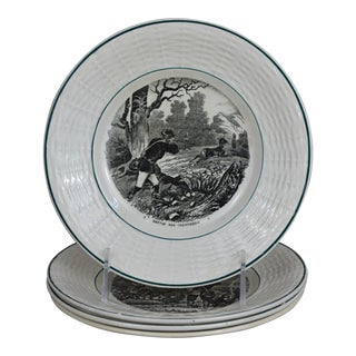 Vintage 1950s French Transferware Hunting Theme Plates - Set of 4 For Sale