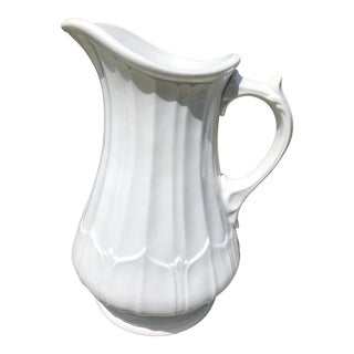 19th Century Victorian E. Challinor Columbia Shape Ironstone Pitcher For Sale
