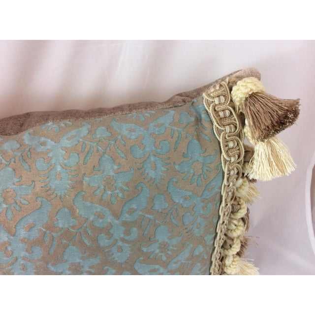 Fortuny Aqua Silk & Down Filled Pillows - A Pair - Image 3 of 4