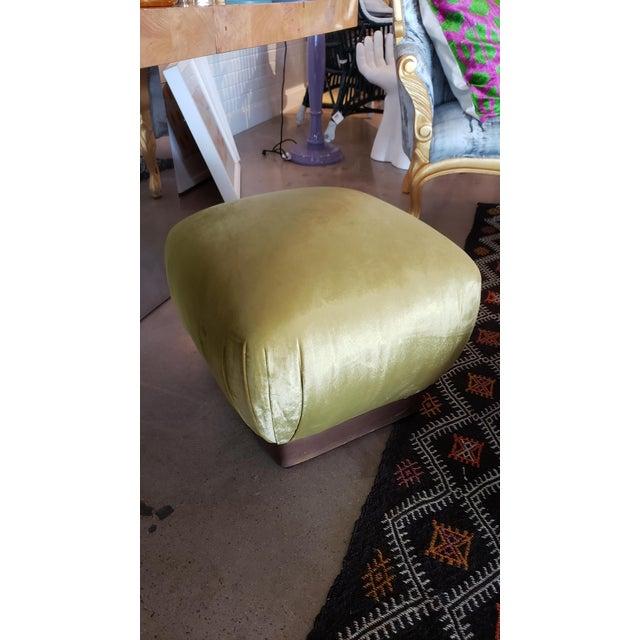 Vintage Brass Plinth Base Ottoman Reupholstered in Citrine Velvet For Sale - Image 4 of 5