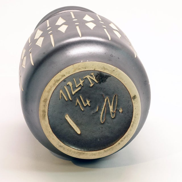 1950s 1950s Vintage Piesche and Reif Sgraffito East German Wide Mouth Vase For Sale - Image 5 of 7