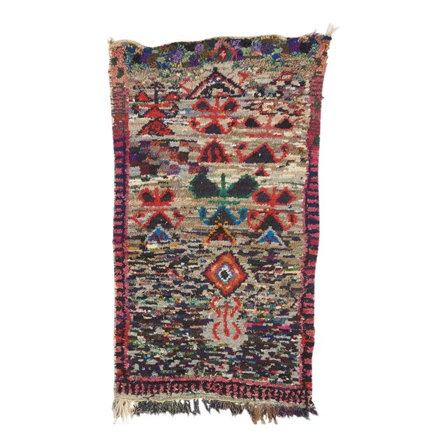 1960s Vintage Moroccan Beni Hand-Knotted Multicolor Wool Rug - 3′5″ × 5′8″ For Sale