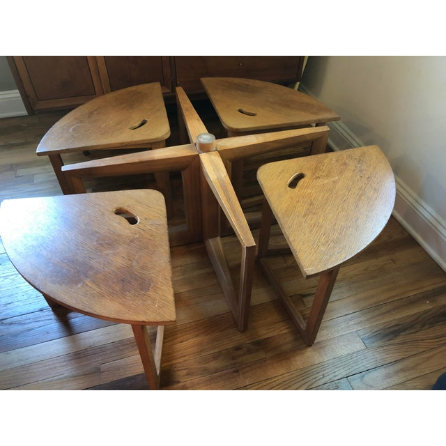 Super cool mid century oak coffee table. Top round piece is a lazy Susan that spins. Would be great for games, or just an...