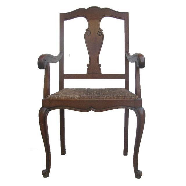 English Arts & Crafts Rush Seat Arm Chair For Sale - Image 9 of 9