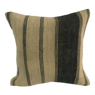 Turkish Camel and Black Handmade Stripe Kilim Pillow Cover For Sale