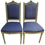 Image of Pair Antique French Louis XVI Upholstered Side or Hall Chairs For Sale