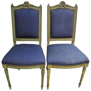Pair Antique French Louis XVI Upholstered Side or Hall Chairs For Sale