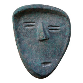 Vintage Modernist Green Ceramic Tiki Face Sculpture For Sale