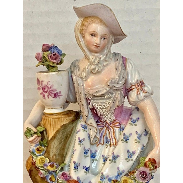 White Fine Late 19th Century Meissen Figurine of a Lady Gardener For Sale - Image 8 of 13