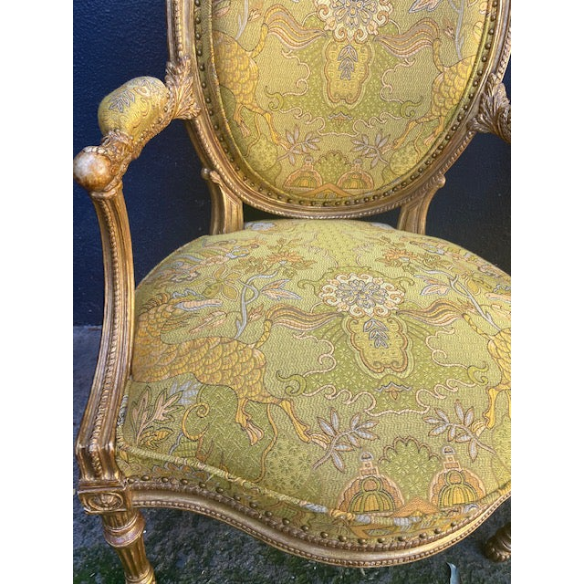 19th C. English Giltwood Armchairs - a Pair For Sale - Image 4 of 13