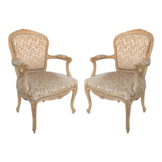 Antique Louis XV Style Provincial Velvet Fauteuil Armchairs- a Pair For Sale