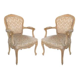 Antique Louis XV Style Provincial Velvet Fauteuil Armchairs- a Pair