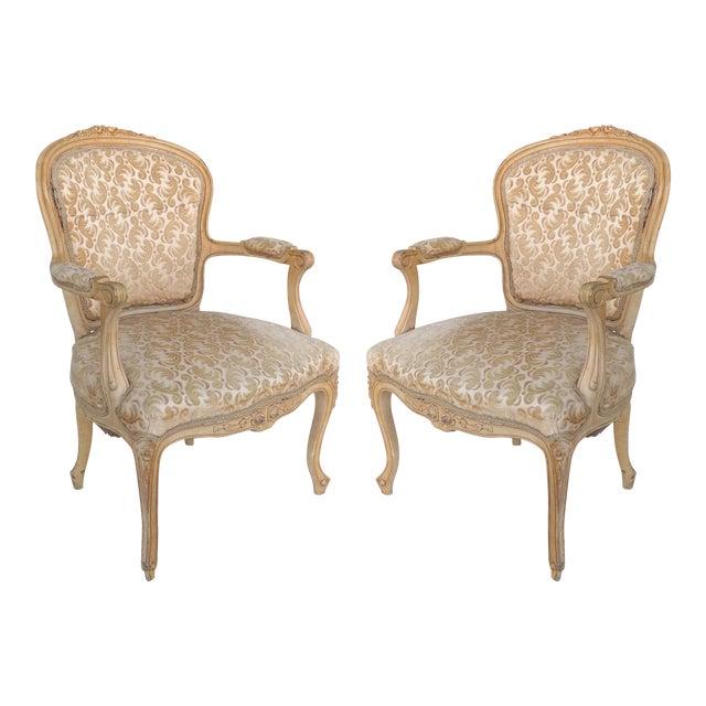 Antique Louis XV Style Provincial Velvet Fauteuil Armchairs- a Pair For Sale